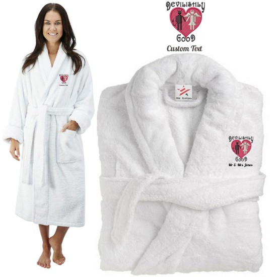 Deluxe Terry cotton with bride and groom devilishly good CUSTOM TEXT Embroidery bathrobe