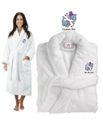 Deluxe Terry cotton with him and her love dolphins CUSTOM TEXT Embroidery bathrobe