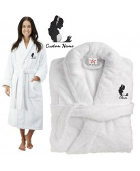 Deluxe Terry cotton with elegant stylish bride CUSTOM TEXT Embroidery bathrobe