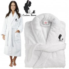 Deluxe Terry cotton with elegant stylish bride CUSTOM TEXT Embroidery bathrobe