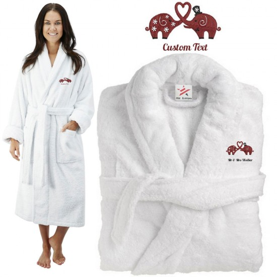 Deluxe Terry cotton with bride groom elephant couple CUSTOM TEXT Embroidery bathrobe