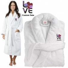 Deluxe Terry cotton with Cute elephant with Love CUSTOM TEXT Embroidery bathrobe