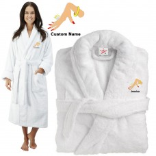 Deluxe Terry cotton with Hand with ring CUSTOM TEXT Embroidery bathrobe