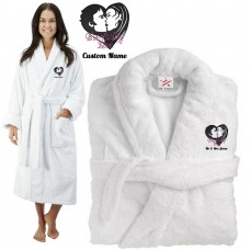 Deluxe Terry cotton with Couple Ever lasting Love CUSTOM TEXT Embroidery bathrobe