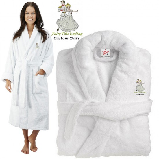 Deluxe Terry cotton with bride & groom fairlytale CUSTOM TEXT Embroidery bathrobe