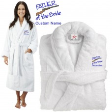 Deluxe Terry cotton with Father of the bride with gun CUSTOM TEXT Embroidery bathrobe
