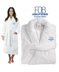 Deluxe Terry cotton with Father of the bride FOB CUSTOM TEXT Embroidery bathrobe