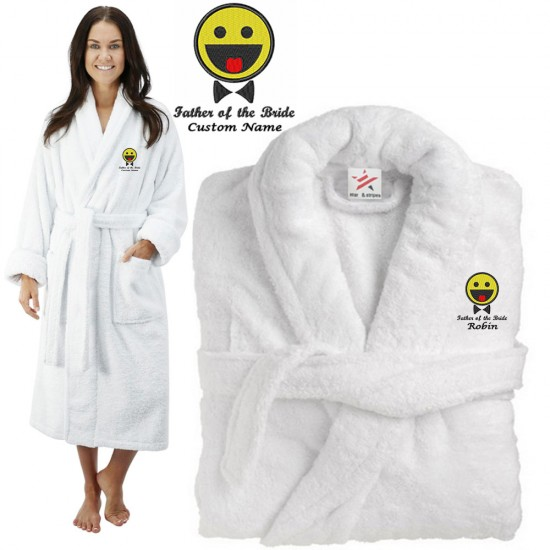 Deluxe Terry cotton with father of the bride emoji CUSTOM TEXT Embroidery bathrobe