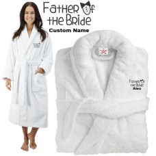 Deluxe Terry cotton with father of the bride with coat style CUSTOM TEXT Embroidery bathrobe