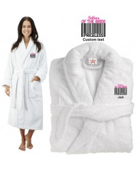 Deluxe Terry cotton with father of bride barcode CUSTOM TEXT Embroidery bathrobe
