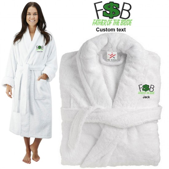 Deluxe Terry cotton with father of bride money CUSTOM TEXT Embroidery bathrobe