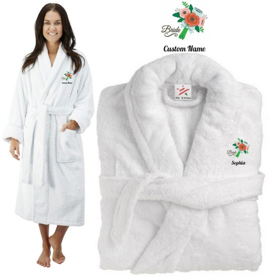 Deluxe Terry cotton with flower bouquet birde CUSTOM TEXT Embroidery bathrobe