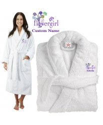 Deluxe Terry cotton with flower girl CUSTOM TEXT Embroidery bathrobe