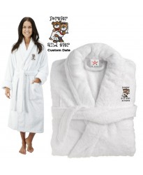 Deluxe Terry cotton with cute teddy bride & groom forever & ever CUSTOM TEXT Embroidery bathrobe