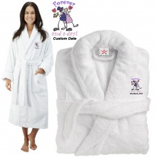 Deluxe Terry cotton with Bride & Groom Forever and A Day CUSTOM TEXT Embroidery bathrobe