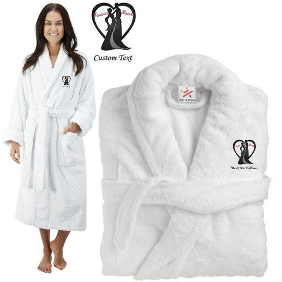 Deluxe Terry cotton with bride groom heart forever yours CUSTOM TEXT Embroidery bathrobe