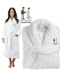 Deluxe Terry cotton with FRANKENSTEIN couple happy halloween CUSTOM TEXT Embroidery bathrobe