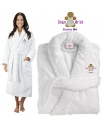 Deluxe Terry cotton with ginger bride CUSTOM TEXT Embroidery bathrobe