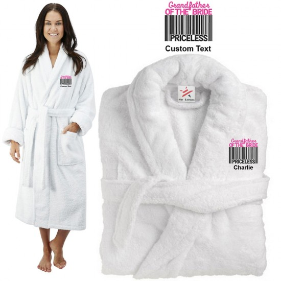Deluxe Terry cotton with grand father of the bride barcode CUSTOM TEXT Embroidery bathrobe