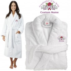 Deluxe Terry cotton with grandmother of the bride with birds CUSTOM TEXT Embroidery bathrobe