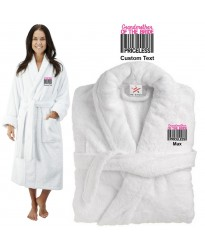 Deluxe Terry cotton with grand mother of the bride barcode CUSTOM TEXT Embroidery bathrobe