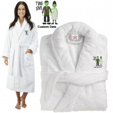 Deluxe Terry cotton with True Love Bride & Groom Frankenstein CUSTOM TEXT Embroidery bathrobe
