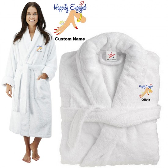 Deluxe Terry cotton with Happily Engaged Ring CUSTOM TEXT Embroidery bathrobe