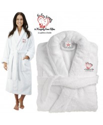 Deluxe Terry cotton with love laughter happily ever after CUSTOM TEXT Embroidery bathrobe
