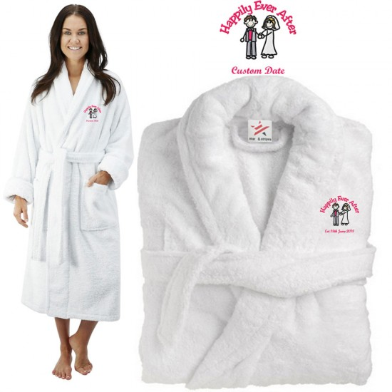 Deluxe Terry cotton with happily ever after clipart CUSTOM TEXT Embroidery bathrobe