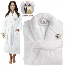Deluxe Terry cotton with bride & groom happily ever after CUSTOM TEXT Embroidery bathrobe