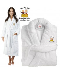 Deluxe Terry cotton with happily ever after toast CUSTOM TEXT Embroidery bathrobe