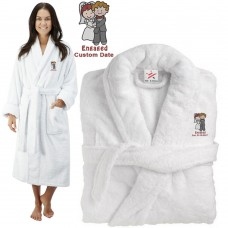 Deluxe Terry cotton with bride & groom engaged CUSTOM TEXT Embroidery bathrobe