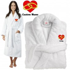 Deluxe Terry cotton with RINGS AND HEART CUSTOM TEXT Embroidery bathrobe