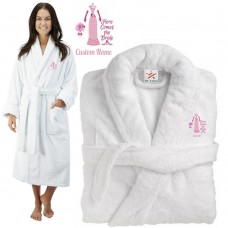 Deluxe Terry cotton with here comes the bride trendy dress graphic CUSTOM TEXT Embroidery bathrobe