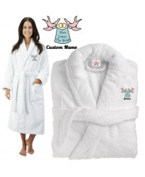 Deluxe Terry cotton with here comes the bride CUSTOM TEXT Embroidery bathrobe