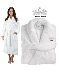 Deluxe Terry cotton with here comes the bride with crown CUSTOM TEXT Embroidery bathrobe