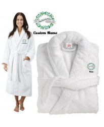 Deluxe Terry cotton with here comes the brides with flowers & Ribbon CUSTOM TEXT Embroidery bathrobe