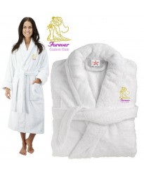 Deluxe Terry cotton with him and her forever CUSTOM TEXT Embroidery bathrobe