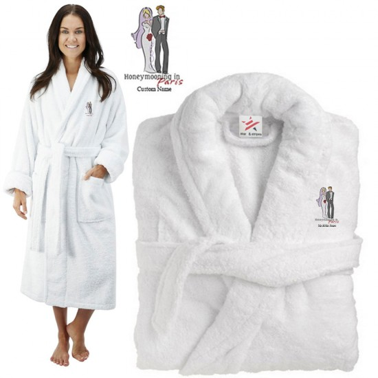 Deluxe Terry cotton with bride and groom honeymooning in paris CUSTOM TEXT Embroidery bathrobe