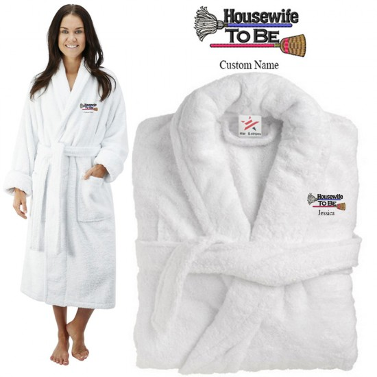 Deluxe Terry cotton with housewife to be CUSTOM TEXT Embroidery bathrobe