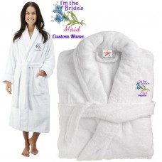 Deluxe Terry cotton with i am the brides maid CUSTOM TEXT Embroidery bathrobe