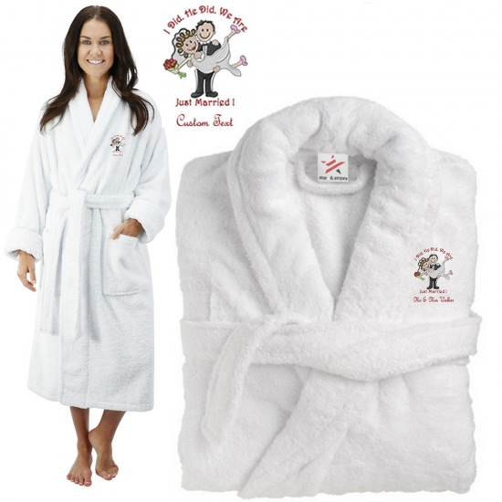 Deluxe Terry cotton with i did he did we are just married CUSTOM TEXT Embroidery bathrobe