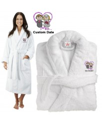 Deluxe Terry cotton with cute bride & groom i do CUSTOM TEXT Embroidery bathrobe