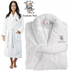 Deluxe Terry cotton with i do what she tells me to CUSTOM TEXT Embroidery bathrobe