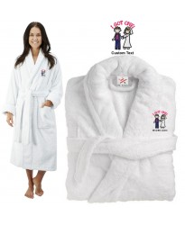 Deluxe Terry cotton with i got one CUSTOM TEXT Embroidery bathrobe