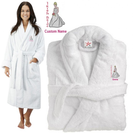 Deluxe Terry cotton with irish bride CUSTOM TEXT Embroidery bathrobe