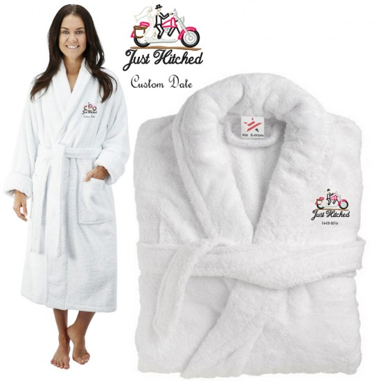Deluxe Terry cotton with just hitched CUSTOM TEXT Embroidery bathrobe