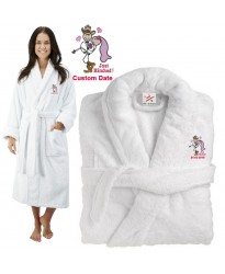 Deluxe Terry cotton with Bride & Groom Just Hitched CUSTOM TEXT Embroidery bathrobe