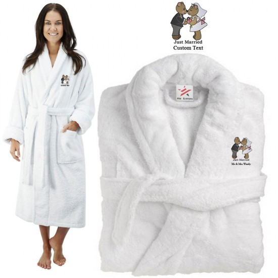 Deluxe Terry cotton with just married loving bears CUSTOM TEXT Embroidery bathrobe