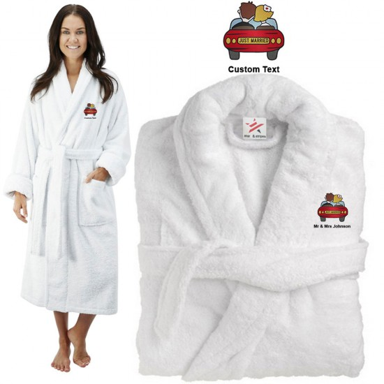 Deluxe Terry cotton with just Married wedding couple car CUSTOM TEXT Embroidery bathrobe
